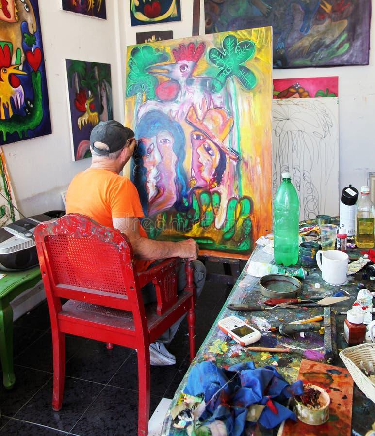 艺术家fuster他的jose工作室 免版税库存图片