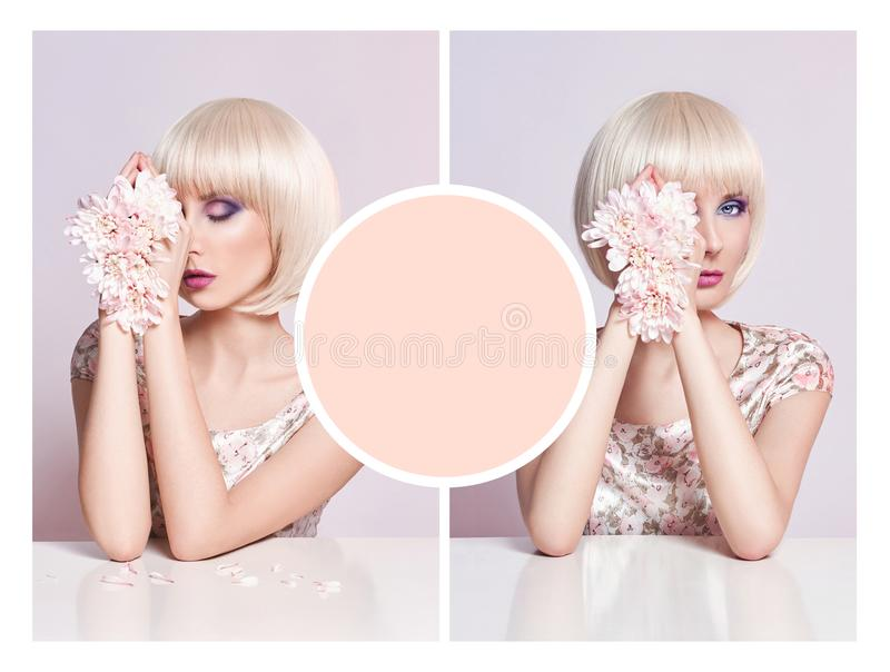 艺术广告拼贴画大模型礼服的夏天妇女有花的 库存图片
