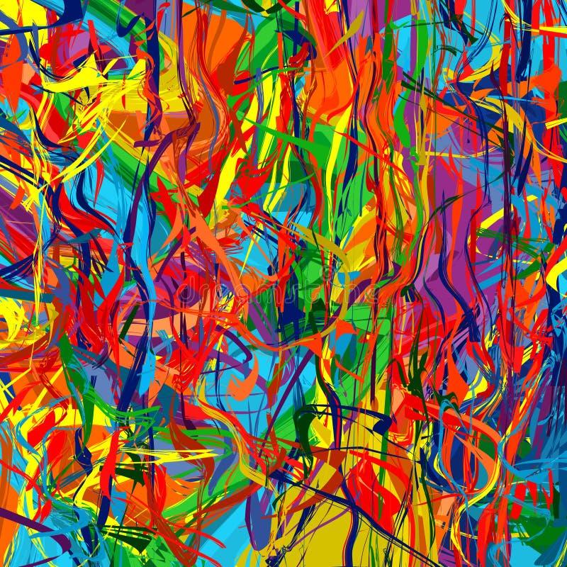 艺术彩虹颜色飞溅刷子抚摸油漆抽象传染媒介背景 向量例证