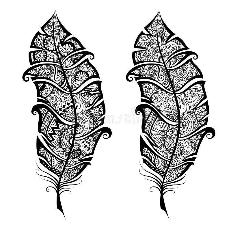 艺术性地手拉,风格化在禅宗缠结,在白色背景的传染媒介羽毛 葡萄酒部族羽毛 向量例证