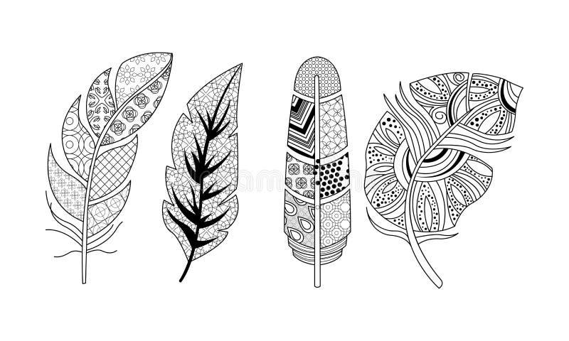艺术性地拉长的羽毛集合,葡萄酒,部族,风格化羽毛,上色页传染媒介例证的样式在a 皇族释放例证