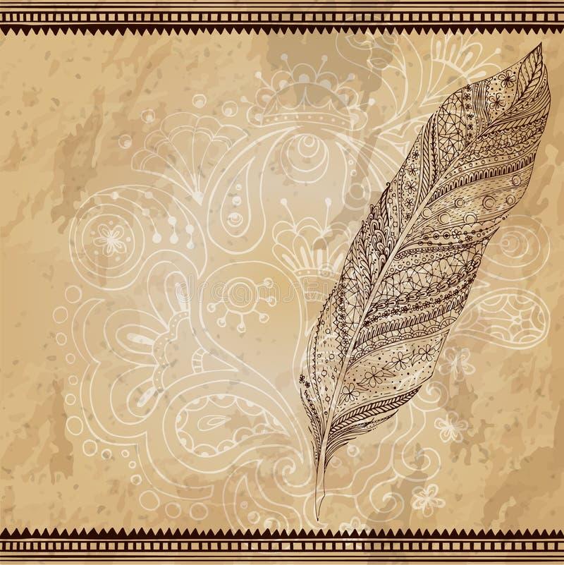 艺术性地画,传统化,导航部族 向量例证