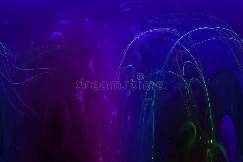 艺术性摘要数字意想不到的不可思议的能量样式概念分数维现代波浪充满活力的混乱幻想的设计,发光 皇族释放例证