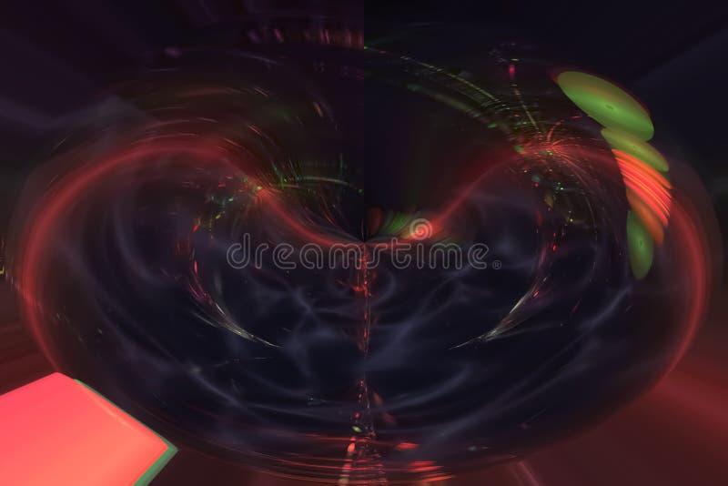 艺术性摘要数字意想不到的分数维闪闪发光想象力波浪充满活力的混乱幻想的设计,发光 向量例证