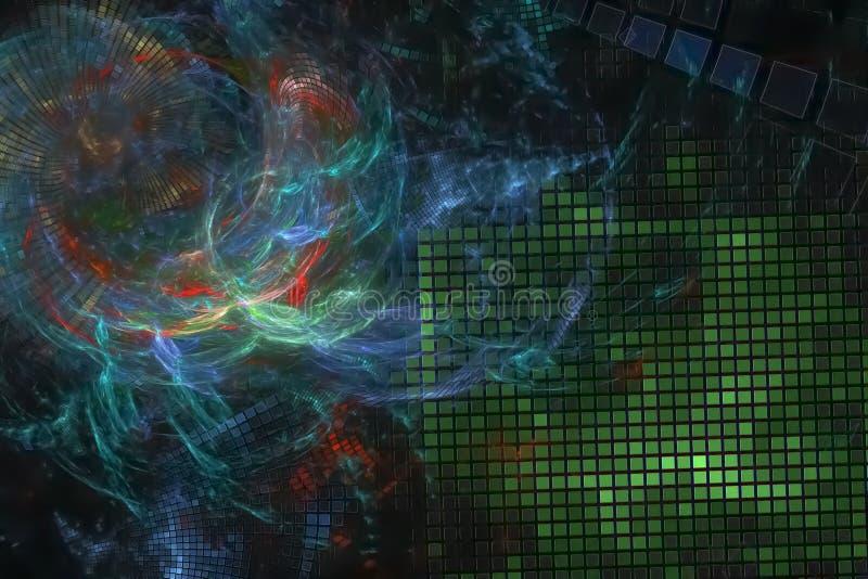 艺术性摘要数字意想不到的曲线纹理能量概念分数维现代波浪充满活力的混乱幻想的设计,发光 库存例证