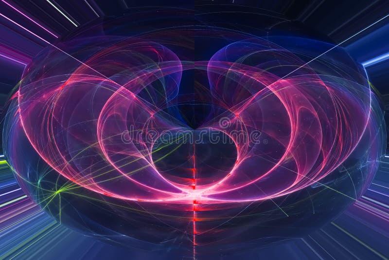 艺术性摘要数字意想不到的曲线能量概念分数维现代波浪充满活力的混乱幻想的设计,发光 向量例证