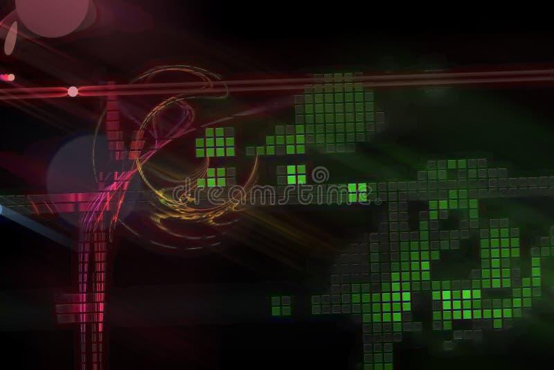 艺术性摘要数字意想不到的曲线魔术纹理能量概念分数维现代波浪充满活力的混乱幻想的设计,发光 库存例证