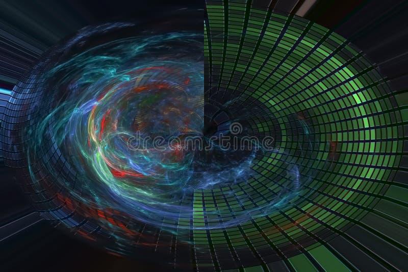 艺术性摘要数字意想不到的能量概念分数维现代波浪充满活力的混乱幻想的设计,发光 皇族释放例证
