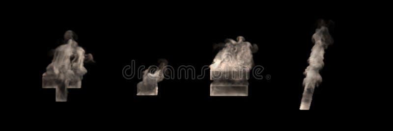 艺术性的万圣节烟字体-加上减去破折号等号和深砍冲程,先令被隔绝的由黑暗的雾制成在黑色,3D 皇族释放例证