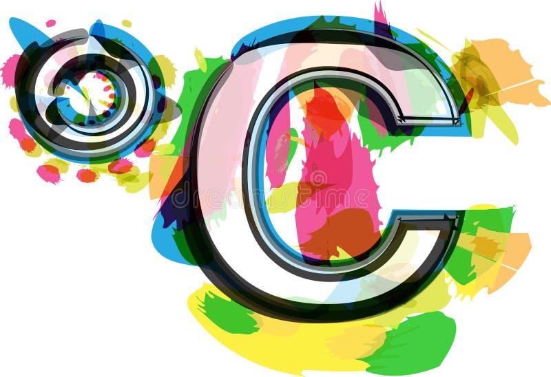 艺术性的五颜六色的celcius标志 向量例证