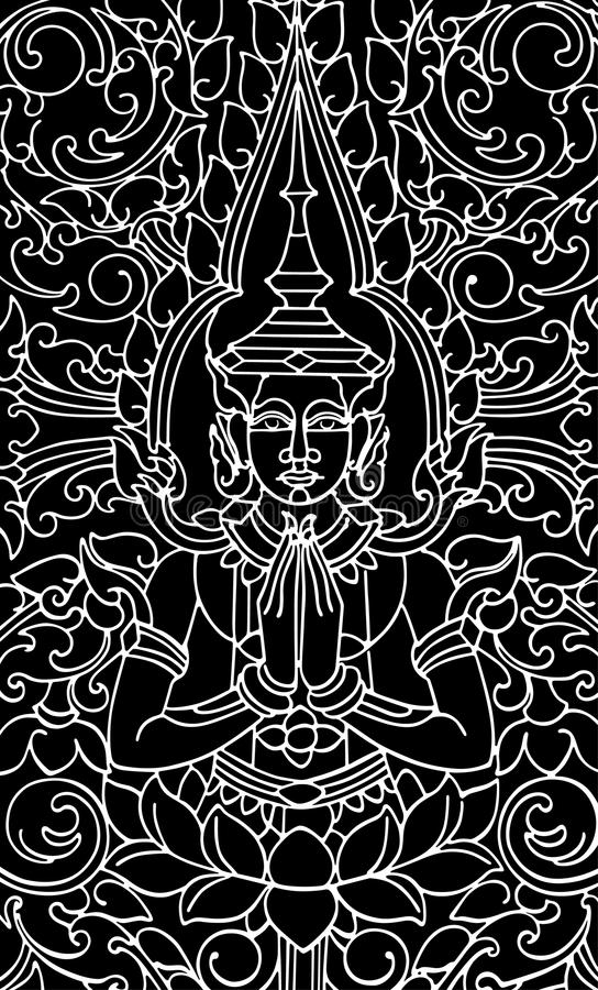 艺术性的佛教中国pa传统向量 向量例证