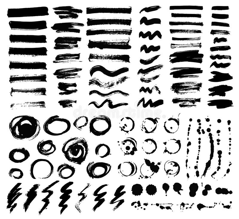 艺术性的刷子冲程传染媒介集合 皇族释放例证