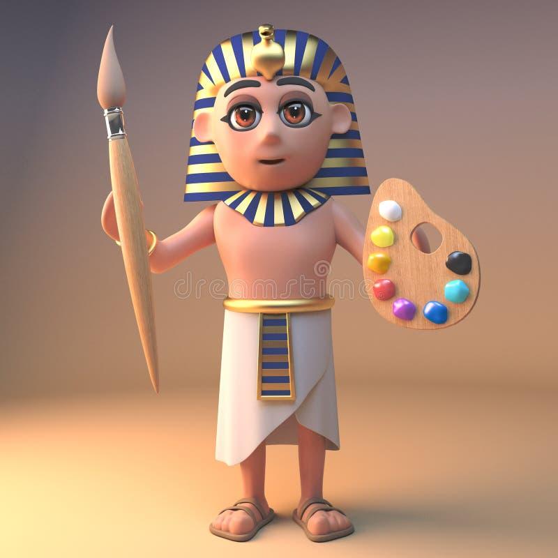 艺术性的古老埃及法老王拿着油漆刷和调色板,3d的Tutankhamun例证 皇族释放例证