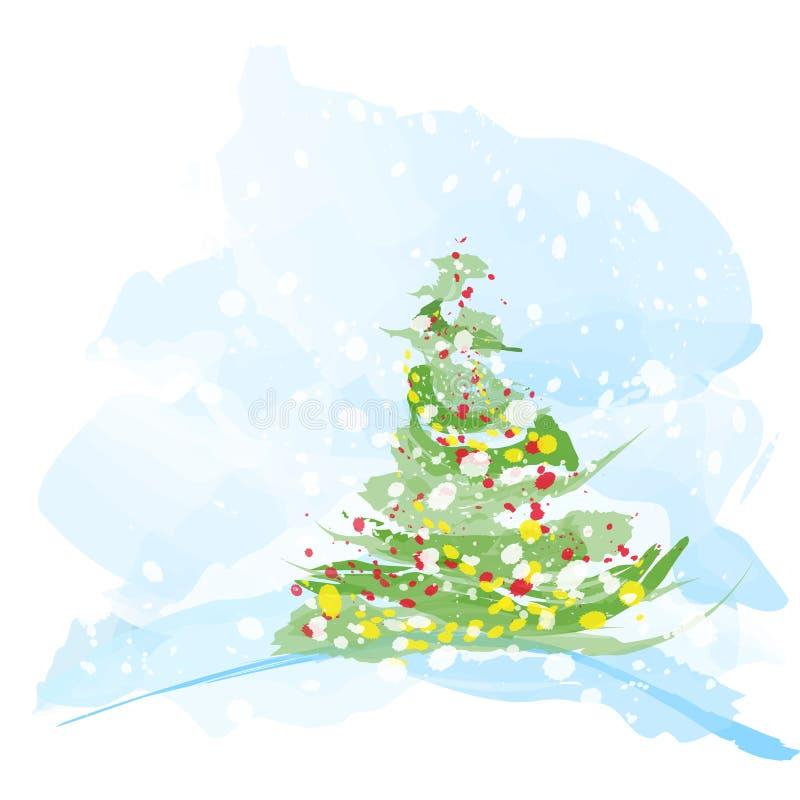 艺术性的圣诞树水彩 皇族释放例证