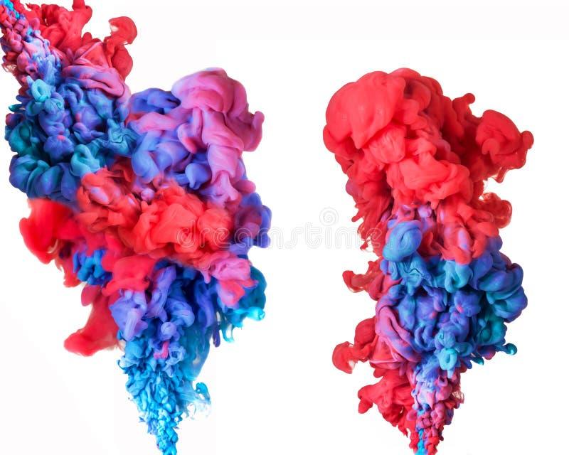 艺术性的抽象墨水在水,颜色抽象背景中 皇族释放例证