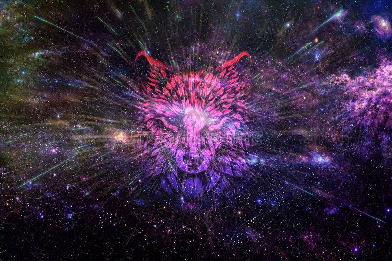 艺术性的抽象数字狼到黑暗的题材光滑的星系背景里 向量例证