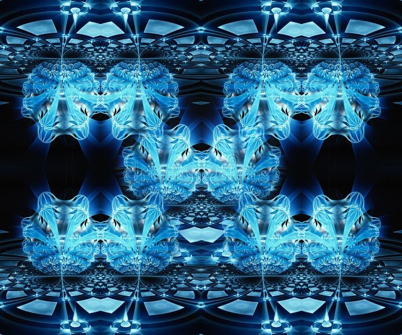 艺术性的抽象美好的3d计算机生成的蓝色花分数维作用样式背景 库存例证