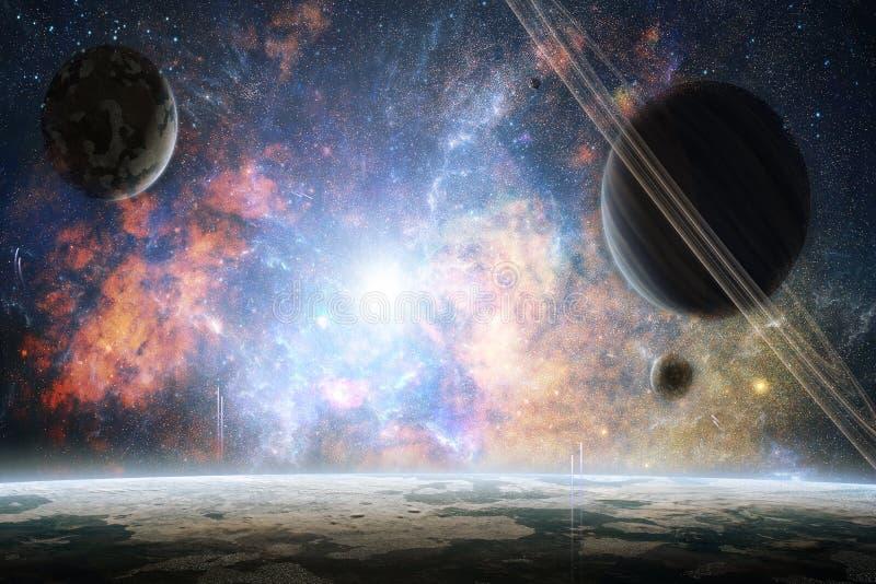 艺术性的抽象行星在五颜六色的明亮的星系背景中 免版税库存照片
