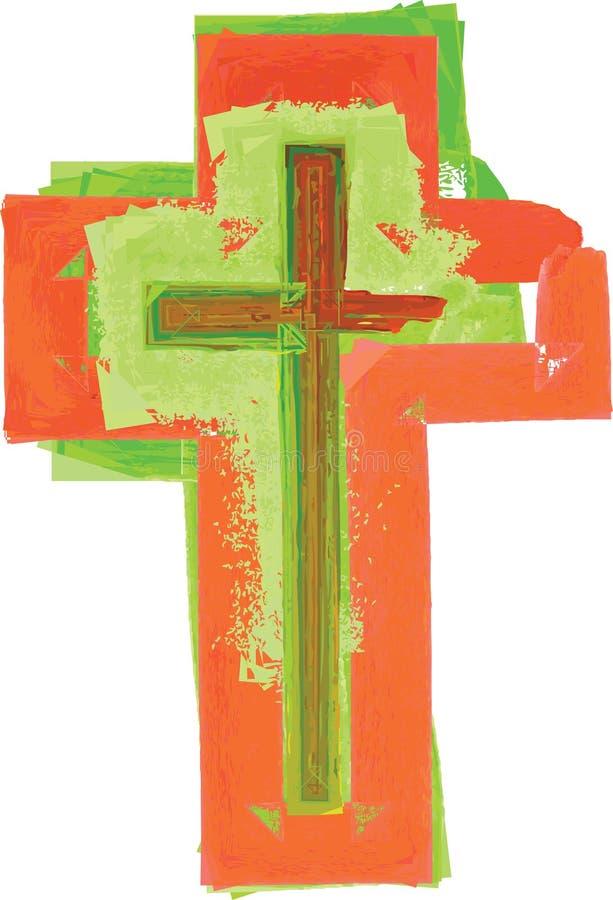 艺术性的抽象水彩样式五颜六色现代绿色和红色 皇族释放例证