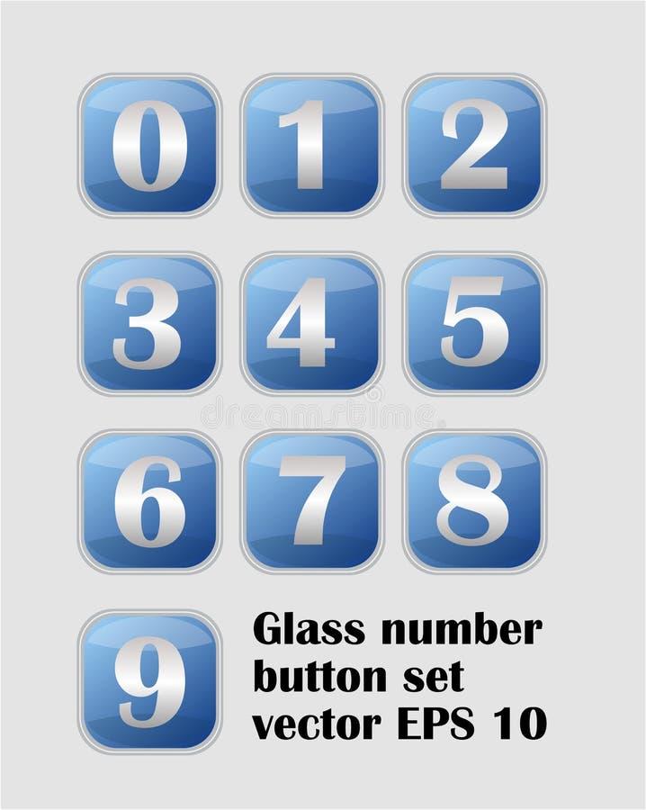 艺术性的数字集合,有金属数字的蓝色按钮 向量例证