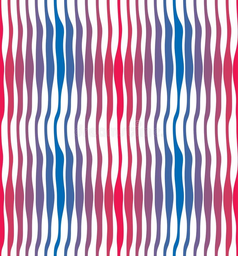 艺术性的曲线线无缝的样式,抽象五颜六色的传染媒介背景 能用为织品,墙纸,包裹 皇族释放例证