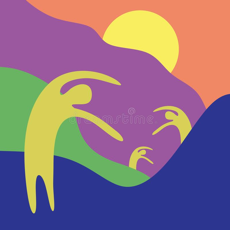 艺术性的最低纲领派在山峰顶的绘画五颜六色的欢迎夏天抽象人上升的手  皇族释放例证