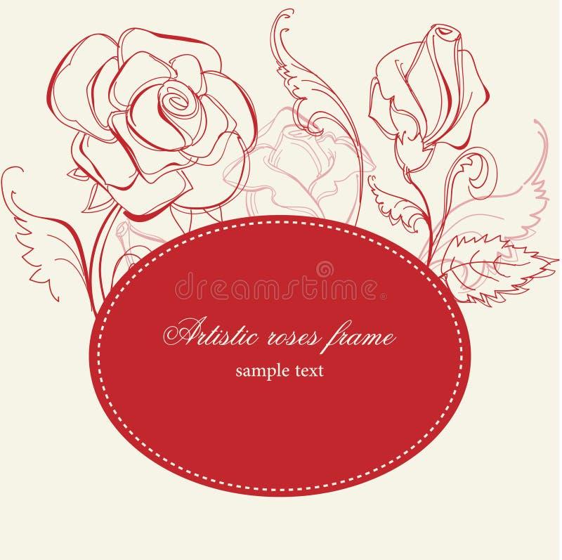 艺术性的框架玫瑰 向量例证
