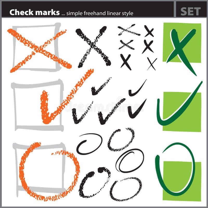 艺术性的检查徒手画的标记被设置的& 向量例证