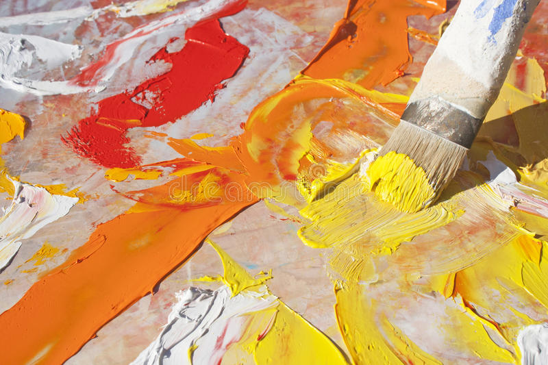 艺术性的油漆刷 免版税库存照片
