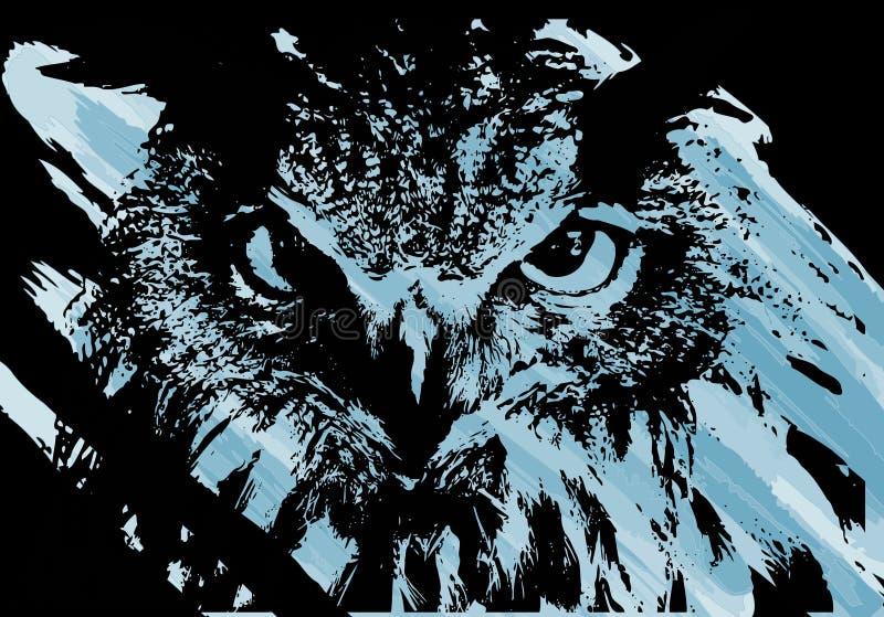艺术性的猫头鹰面孔 皇族释放例证