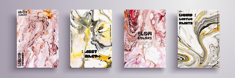 艺术性的盖子设计 液体大理石纹理 创造性的流体上色背景 可适用为设计盖子 向量例证