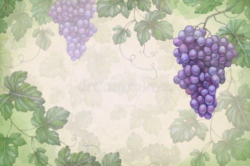 艺术性的背景用水彩葡萄 向量例证