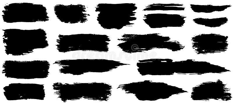 艺术性的脏的黑在白色背景隔绝的油漆手工制造创造性的刷子冲程集合的汇集 皇族释放例证