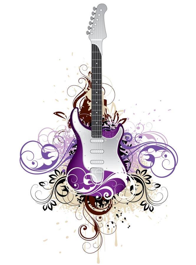 艺术性的花卉吉他 向量例证