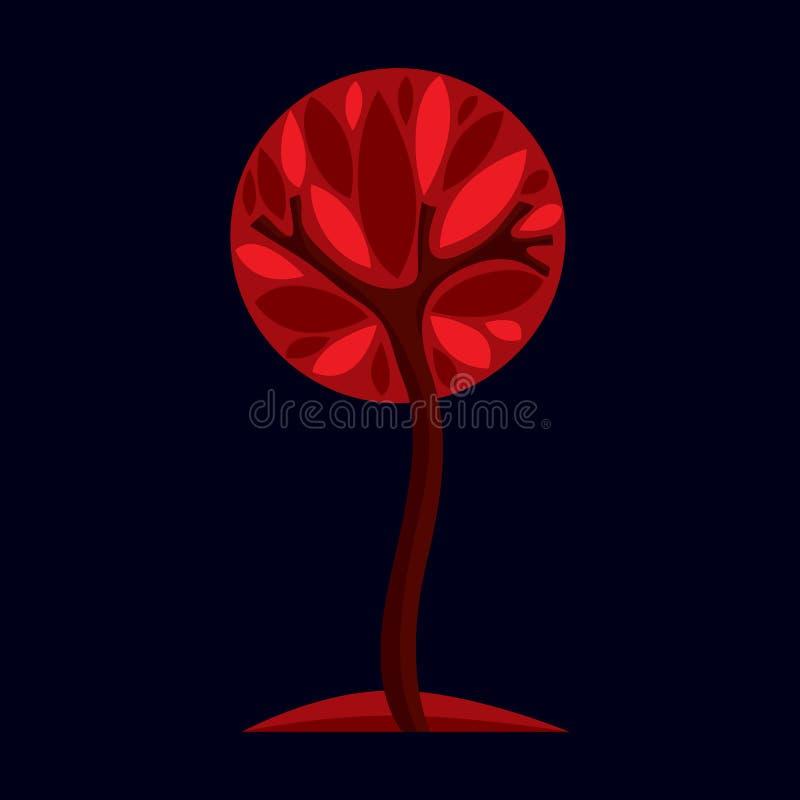 艺术性的风格化自然标志,创造性的树例证 加州 皇族释放例证