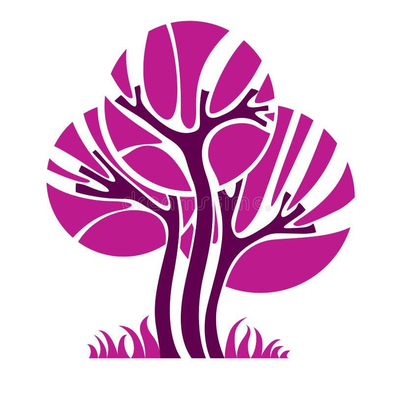 艺术性的风格化自然标志,创造性的树例证 加州 向量例证