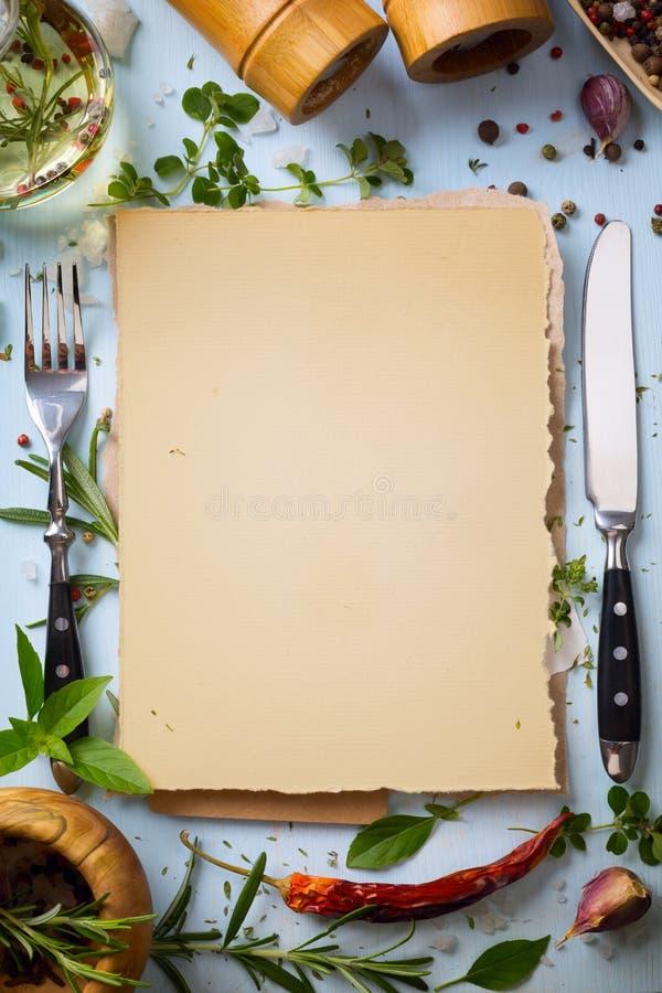 艺术意大利自创菜单食物背景 图库摄影