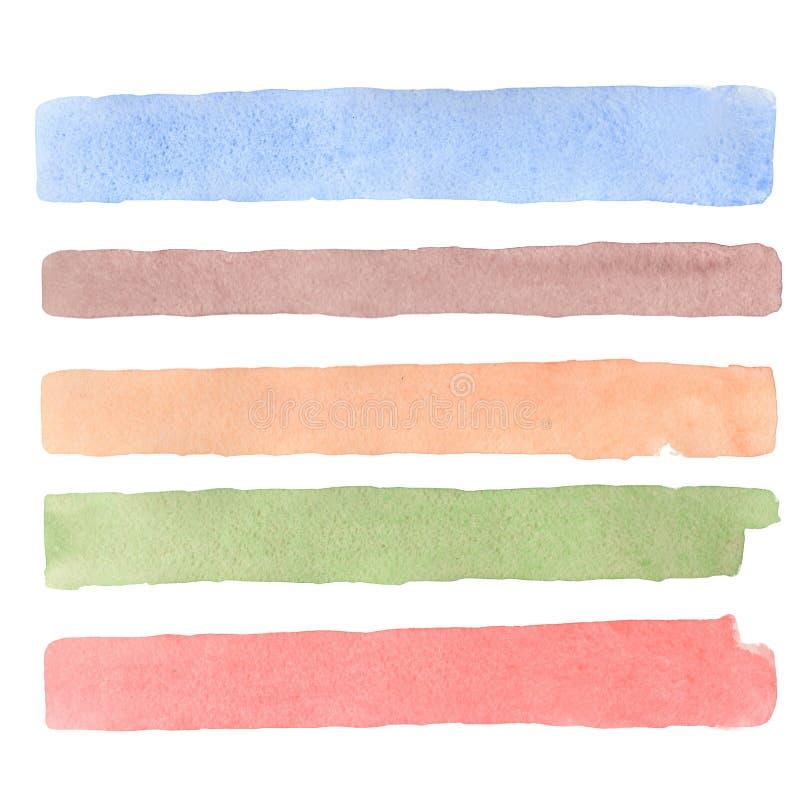 艺术摘要刷子排行被绘的水彩被构造的背景例证 为标题、商标和销售横幅设计 向量例证