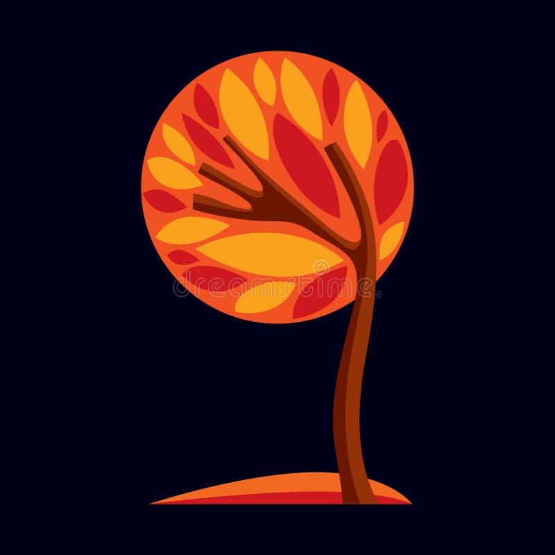 艺术树的幻想例证,风格化eco标志 图表d 库存例证