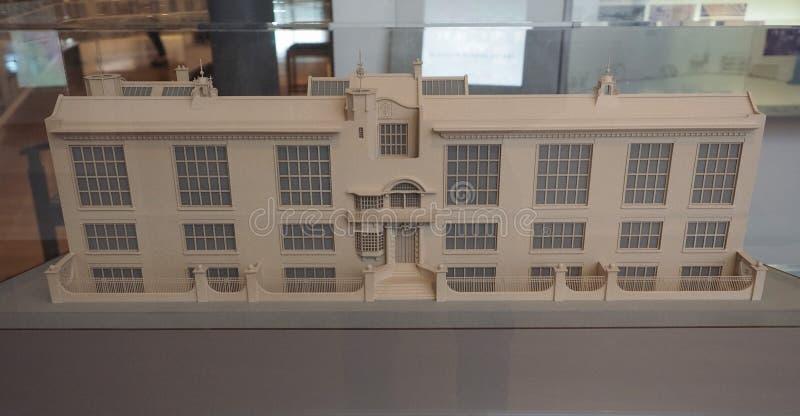 艺术格拉斯哥学校比例模型在格拉斯哥 库存照片