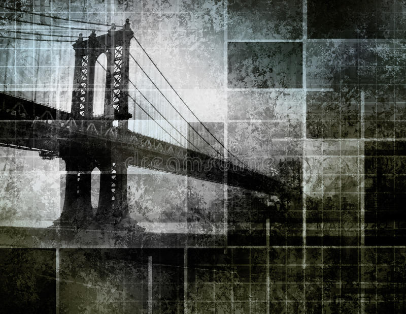 艺术桥梁城市启发了现代纽约 向量例证