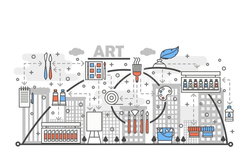 艺术概念传染媒介平的线艺术例证 向量例证