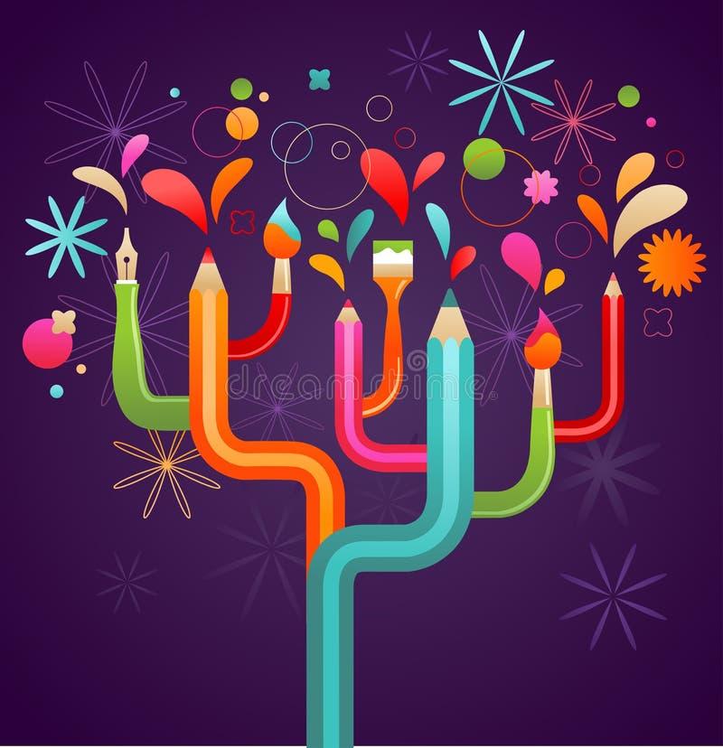艺术概念创建例证结构树 库存例证