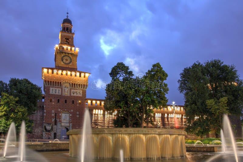 艺术现在是最大的城堡城堡城市收集公国欧洲议会意大利米兰博物馆一个住宅s位子几sforza对使用 免版税库存照片