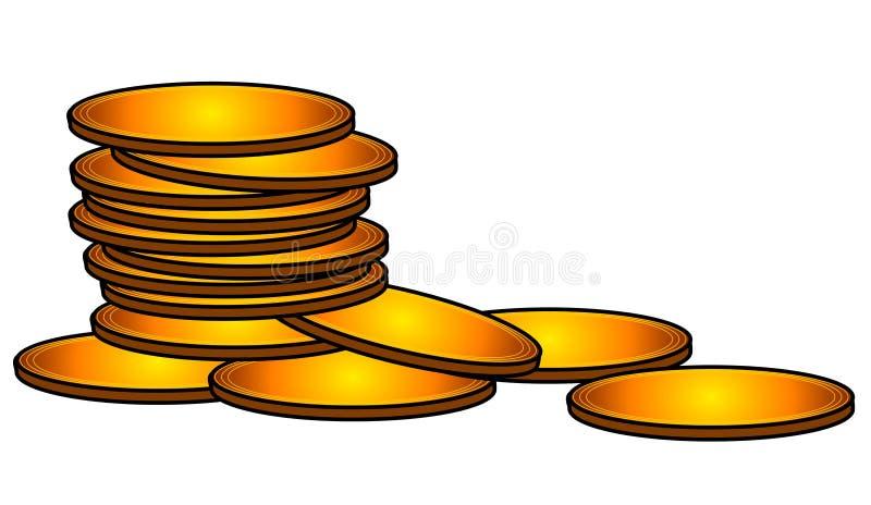艺术现金夹子币金货币 向量例证