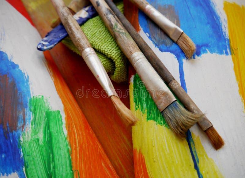 绘画艺术用工具加工创造性的绘画 库存图片