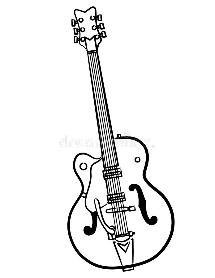艺术电吉他例证线路向量 库存例证