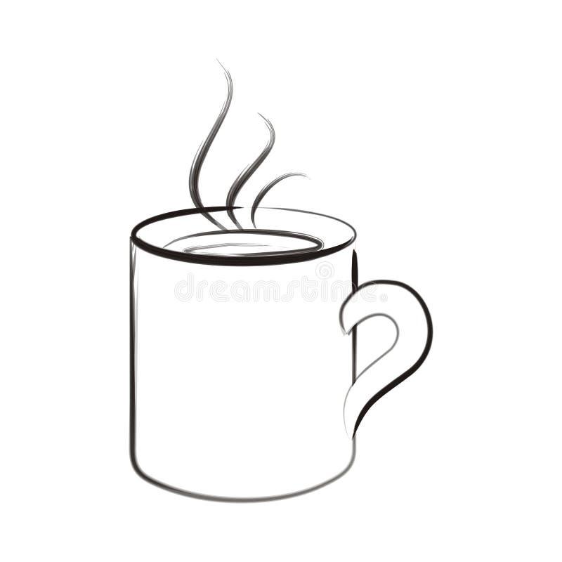 艺术画笔咖啡杯冲程 皇族释放例证