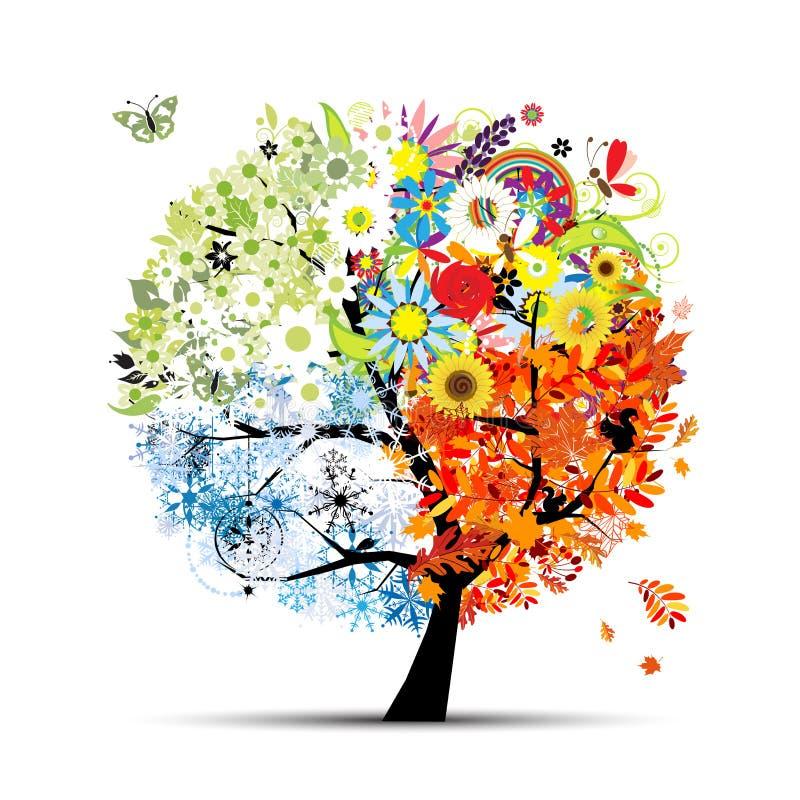 艺术秋天晒干春天夏天结构树冬天 向量例证