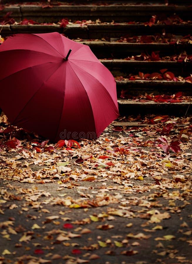 艺术秋天背景数字式秋天叶子 红色和黄色在被毁坏的老sto离开 免版税库存图片